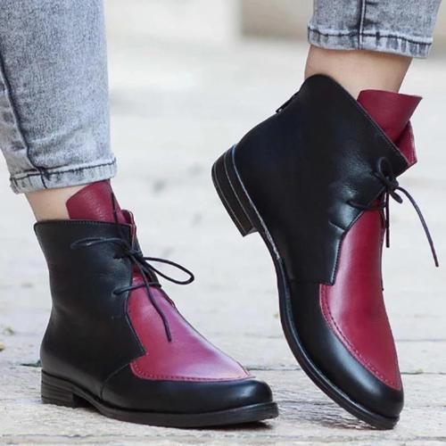 Ladies Color Block Vintage Lace-Up Boots