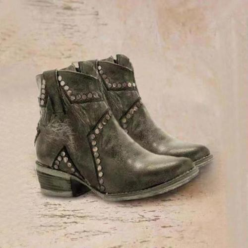 Short Round Head Women's Ankle Boots