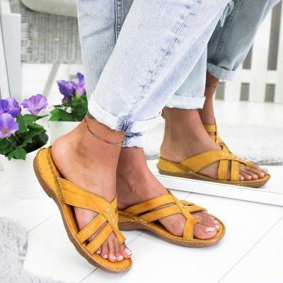 Women Casual Comfy Toe Ring Criss-Cross Sandal Shoes