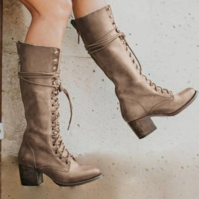 Daily Leather Block Heel Boots