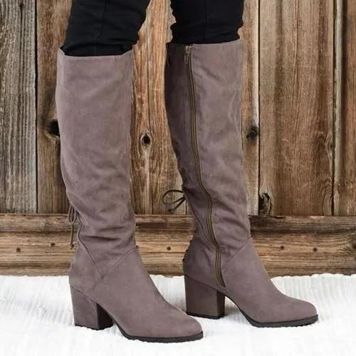 Women's Zipper Mid-Calf Boots Low Heel Boots