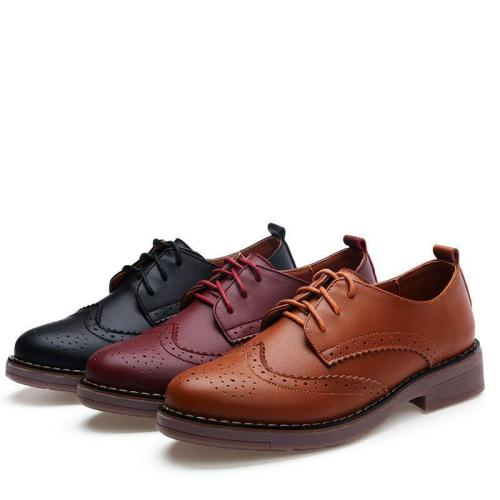 Autumn Bullock Lace-up Shoes Oxford Flat Shoes