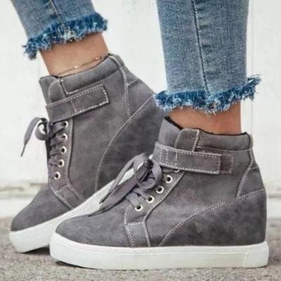 Women's Lace-up Nubuck Wedge Heel Shoes