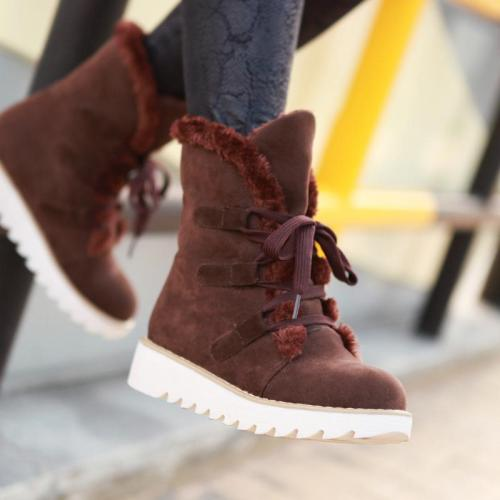 *Casual Winter Warm Low Heel Lace Up Snow Boots