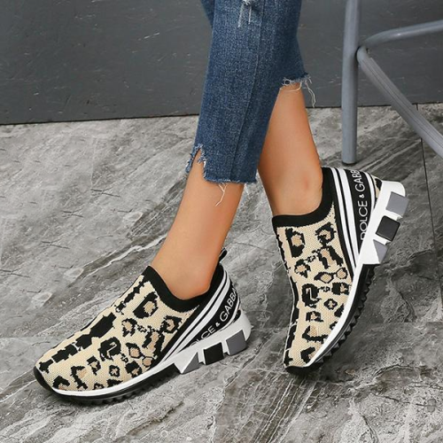 Trendy Casual Wild Leopard Slip On Sneakers