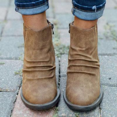 Block Heel Casual Rivet Boots