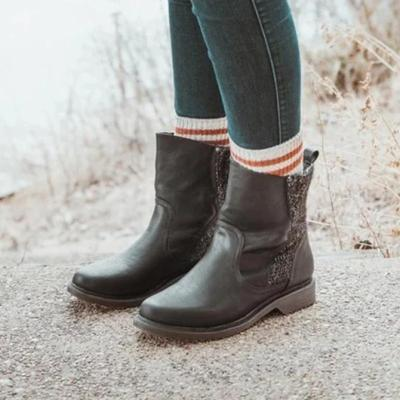 Artificial Leather Split Joint Date Boots