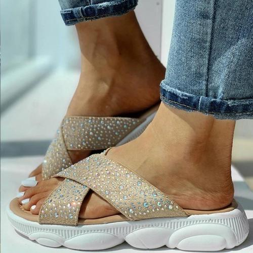 Women Rhinestones Flat Heel Casual Slippers