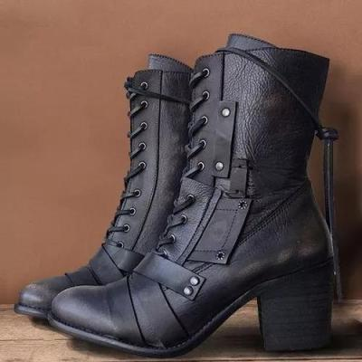 Women's Lace-up Mid-Calf Boots Chunky Heel Boots