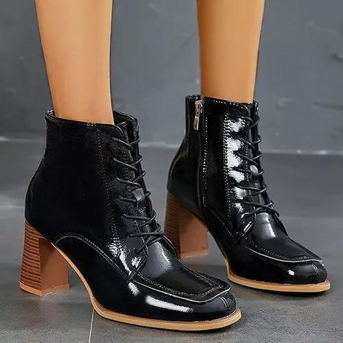 Women's Zipper Lace-up Ankle Boots