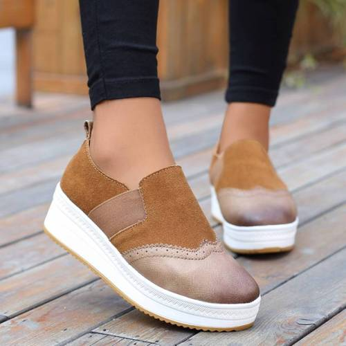 Women Bullock Suede Elastic Band Split Joint Slip On Platform Loafers