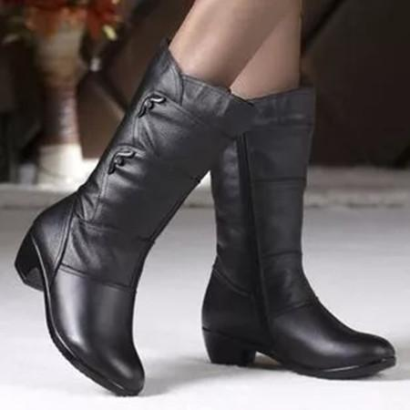 Women's Zipper Ankle Boots Round Toe Heels Chunky Heel Boots