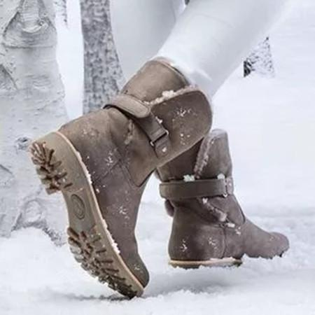 Women's Buckle Mid-Calf Boots Low Heel Boots