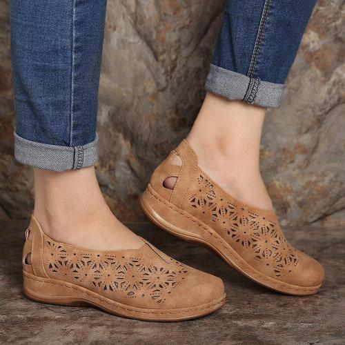 Hollow Out Elastic Band Round Toe Slip On Flat Shoes