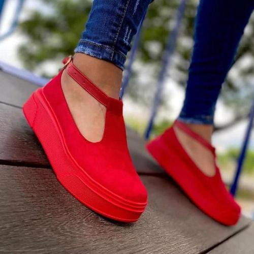 Women's Comfy Suede Platform Sandals With Buckles