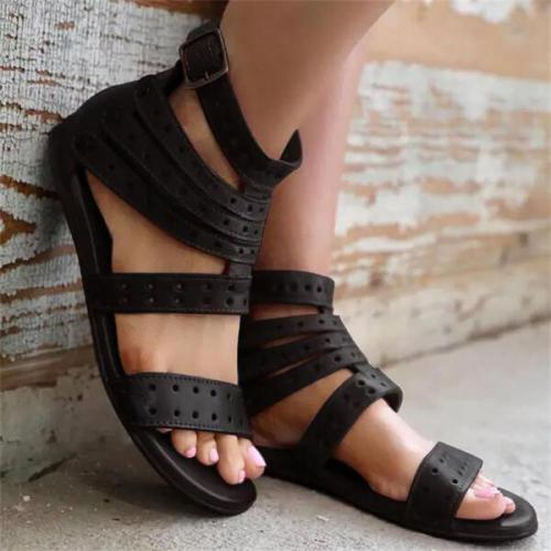 Women's Leather Flat Heel Sandals Slippers With Rivet shoes