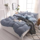 Simple Washed Cotton Bedding Sets Striped Lattice Duvet Cover Piilowcases for Queen King Size