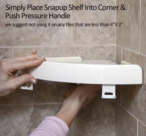 Snap Up Corner Shelf-can hold up to10 pounds (or 4 kg) and with water drain holes