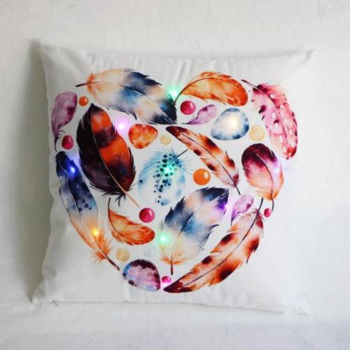 Creative Cushion Cover LED Light Christmas Digital Printing Pillow Case Decorative Throw Pillow Cover