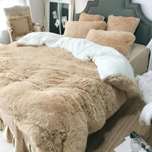 Coral Fleece Shearling Bedding Set Sheet Warm Mink Cashmere Cover Pillowcase