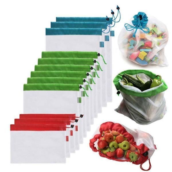 12Pcs Eco-Friendly Reusable Grocery Bags - washable, durable, foldable and reusable