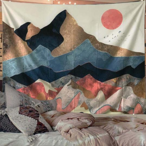 Abstract Peak Sun Wall Tapestry