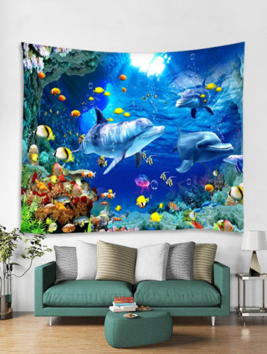 Underwater World Dolphin Pattern Tapestry Art Decoration