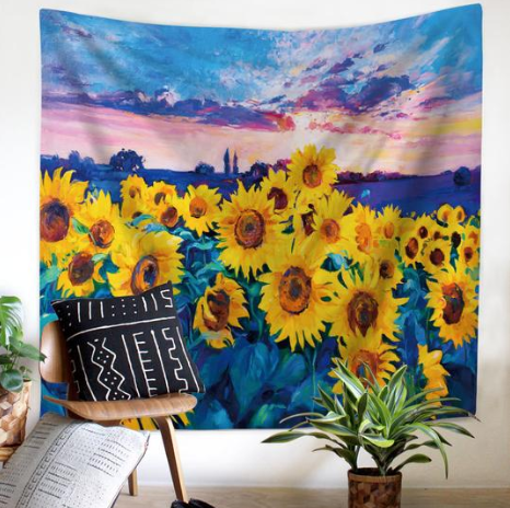 Blue Field Sunflower Tapestry Wall Hanging
