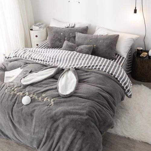 Chenille Crystal Velvet Bedding Set Quilt Cover Bed Sheet Pillowcase