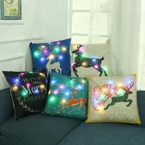 3D Digital Printed Cushion Cover LED Light Christmas Pillow Case Cushion Decorative Throw Pillow Cover
