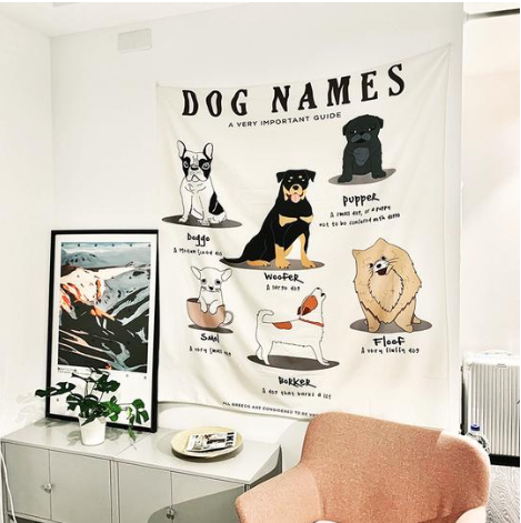 Dog Names Wall Tapestry