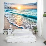 Sunrise Beach Waves Print Tapestry Wall Hanging Art