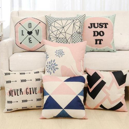 English Alphabet Geometric Figure Pillow Cotton and Linen Cushion Home Decoration Hug Pillow