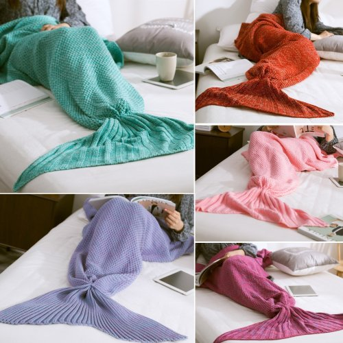 Yarn Knitting Mermaid Tail Blanket Fibers Warm Super Soft Home Office Sleep Bag Bed Mat