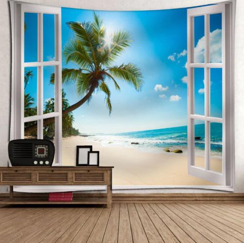 Window Beach Print Wall Tapestry