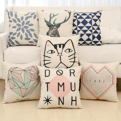 English Alphabet Geometric Figure Pillow Cotton and Linen Cushion Home Decoration Hug Pillow