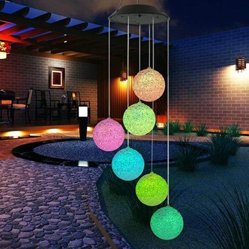 Solar Color Changing LED Light Lamp Six Crystal Balls Romantic Wind-Bell for Home Garden Decor