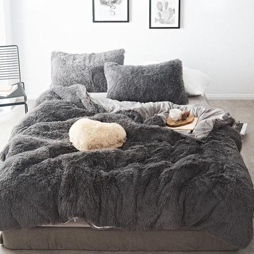Luxury Mink Velvet Bedding Set Winter Soft Quilt Cover Bed Sheet Pillowcase