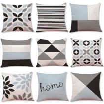Geometric Cotton and Linen Pillowcase Car Pillow Case Sofa Cushion Cover