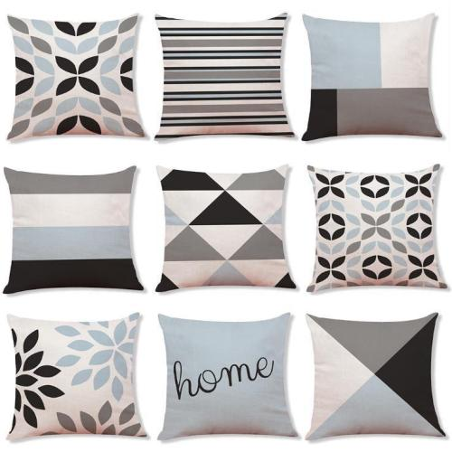 Geometric Cotton and Linen Pillowcase Car Pillow Case Sofa Cushion Cover