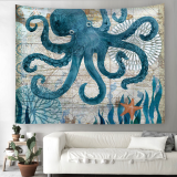 Nautical Octopus Print Tapestry Wall Hanging Art Decoration