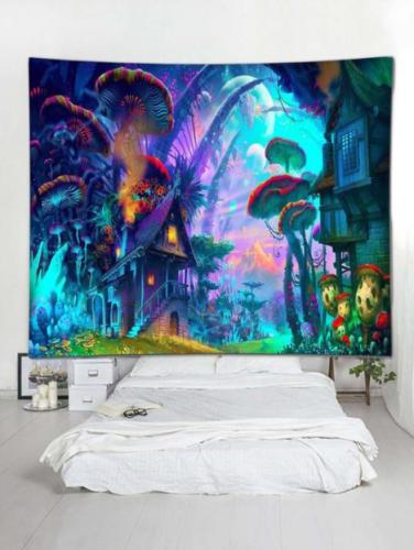 Mushroom Dreamy World Wall Tapestry