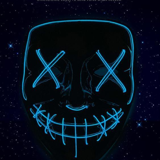 Halloween led flash grimace mask