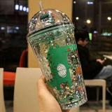 Double Wall Unicorn Plastic Cup with Lid