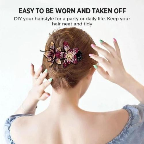 Rhinestone Double Flower Hair Clip