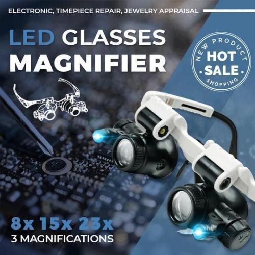 LED Glasses Magnifier 8x 15x 23x