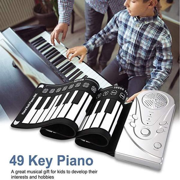 Hand Roll Piano Portable Folding Electronic Piano, 49 Keys with Horn, Professional Silicone Rubber, Suitable for Beginners