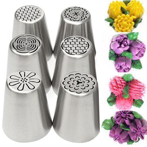 6Pcs DIY Baking Tools Russian Tulip Flower Cake Icing Piping Nozzles Decorating Tips