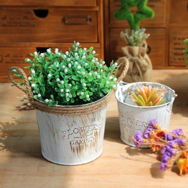 Flower Pots Vintage Pastoral Style Metal Vases Artificial Garden Decoration