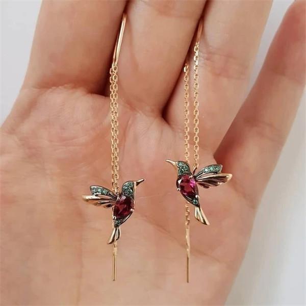 Ladies Elegant Hummingbird Rhinestone Stud Earrings